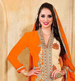 ORANGE & BEIGE COLOR DRESS WITH SANTOON FABRIC BOTTOM & NAJNEEN FABRIC DUPATTA FAUX GEORGETTE PARTY WEAR DRESS HAS SANTOON BOTTOM AND NAZNEEN ODHNI AND SUPERB EMBROIDERY WORK ON NECK  AND BACK