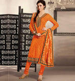 ORANGE COTTON PRINTED DRESS MATERIAL RTRAJ1106B