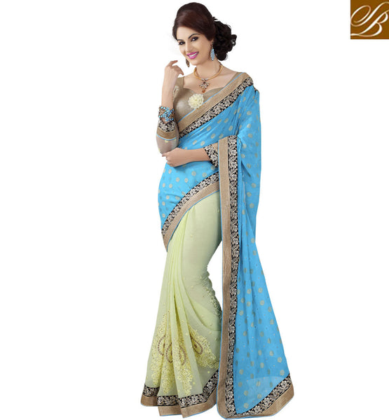 JACQUARD BUTTI & CHIFFON PARTY WEAR SAREE WITH BLOUSE STYLISH BAZAAR
