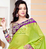 Chiffon & Laser Designer Dark Pink & Parrot green party wear saree