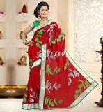 INDIAN-SAREE-MODEL-AND-DESIGNS-FOR-BLOUSES-COLLECTION-ONLINE-RAVISHING-RED-CHIFFON-SAREE-WITH-PURE-DUPION-MATERIAL-CONTRAST-GREEN-BLOUSE