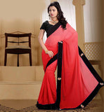 NEW 2015 FASHION DESIGNER SAREE BLOUSES DESIGNS RAVISHING RED PURE GEORGETTE SARI CONTRAST BLACK DUPION BLOUSE