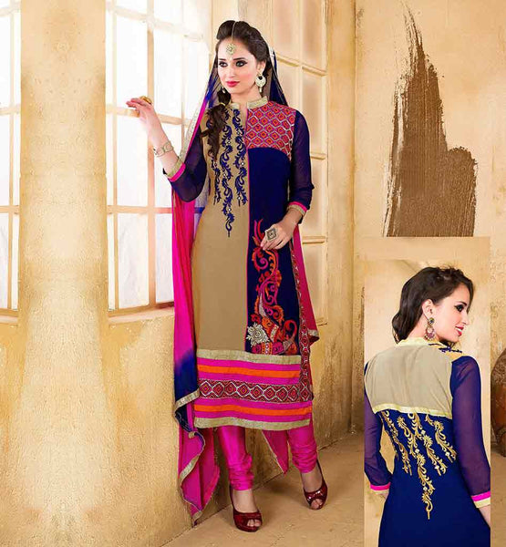 PUNJABI SUIT FOR WOMEN ONLINE SHOPPING INDIA VDDSY1007 BEIGE AND NAVY BLUE PARTY WEAR DRESS COMES WITH PINK SALWAR AND SHADED DUPATTA