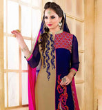 BEIGE AND NAVY BLUE PARTY WEAR DRESS COMES WITH PINK SALWAR AND SHADED DUPATTA STRAIGHT CUT EMBROIDRED KAMEEZ WITH NICE WORK ON FRONT AND BACK, SANTOON BOTTOM AND SHAEDED ODHNI