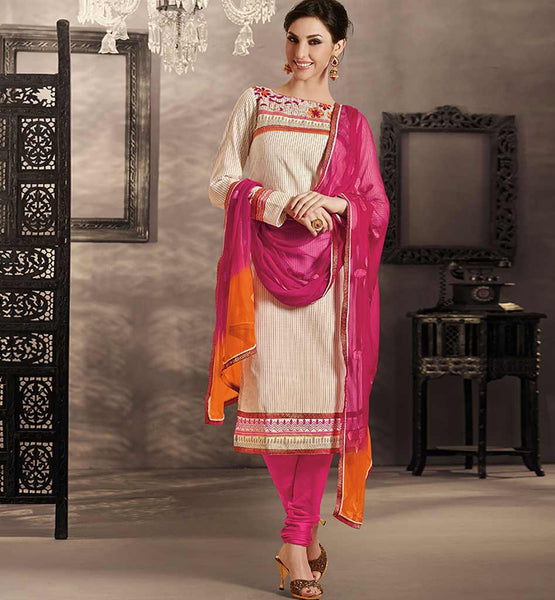 CREAM COTTON DRESS MATERIAL WITH PINK SALWAR & DUPATTA RTRAJ1107A