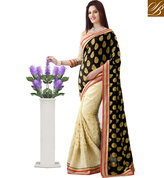 PIC OF BLACK & CREAM JACQUARD BUTTI & RAW SILK DESIGNER PARTY WEAR SAREE