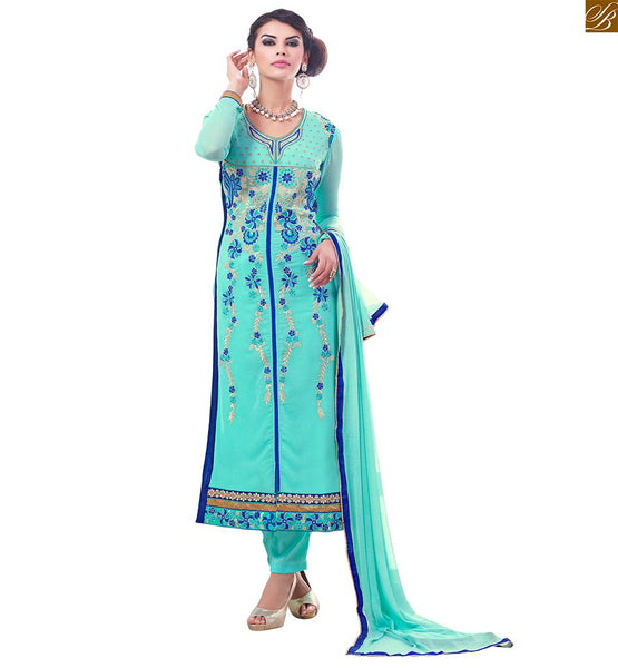 BROUGHT TO YOU BY STYLISH BAZAAR COMMENDABLE BLUE SALWAAR KAMEEZ DECKED WITH SILVER EMBROIDERY VDADI1108