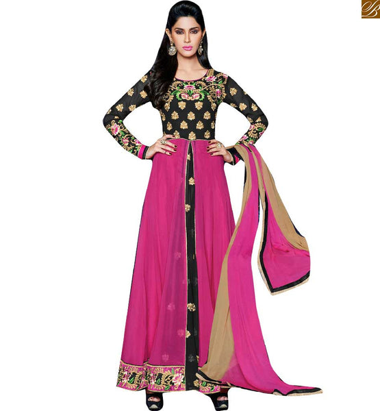 BLACK AND PINK PURE GEORGETTE ANARKALI GOWN TYPE LONG SALWAR KAMEEZ DESIGN ELEGANT DRESSES COLLECTION FOR FORTH COMING FESTIVALSSEASON