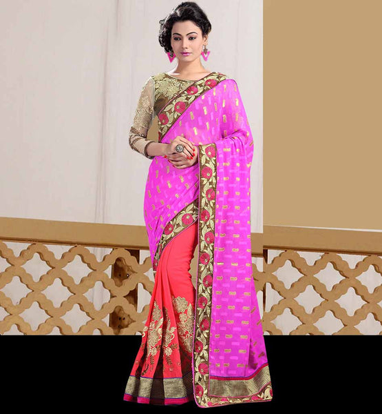 SAREE PATTERNS FOR THE BLOUSE WITH IMAGES  PLEASING PINK AND PEACH JACQUARD SARI WITH CONTRAST STYLISH DUAL COLOR BLOUSE