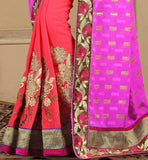 STUNNING SARI WITH EQUALLY BEAUTIFUL BLOUSE WITH RICH FLORAL STYLE DETAILING SAREE PATTERNS FOR THE BLOUSE WITH IMAGES VDSNH1108