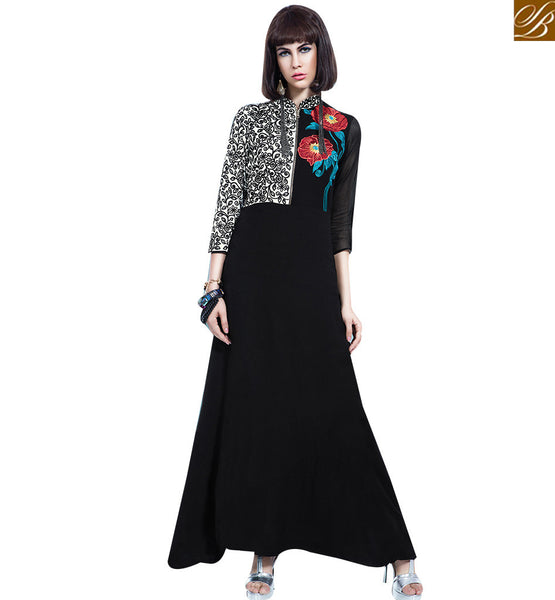 STYLISH BAZAAR IDEAL BLACK COLORED WOMEN'S GEORGETTE GOWN STYLE SUIT VDBSH11087