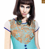 STYLISH BAZAAR INTRODUCES ELEGANT SKY BLUE COLORED DESIGNER GOWN WITH BEAUTIFUL EMBROIDERED WORK VDBSH11088