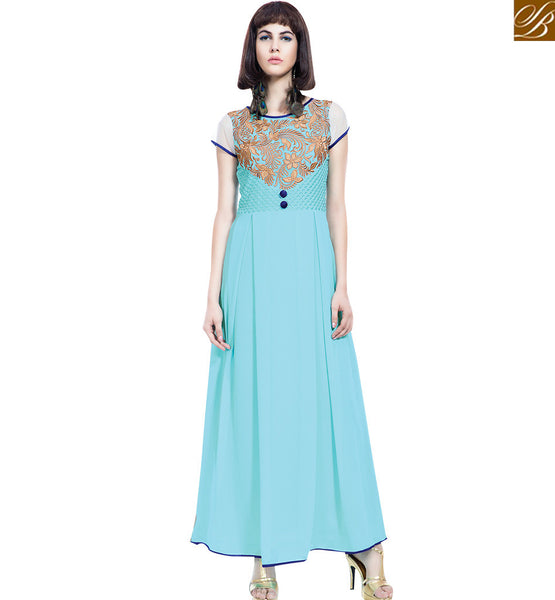 STYLISH BAZAAR ELEGANT SKY BLUE COLORED DESIGNER GOWN WITH BEAUTIFUL EMBROIDERED WORK VDBSH11088