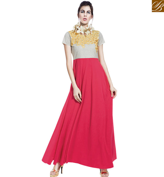 STYLISH BAZAAR RICH LOOKING PINK & BEIGE COLORED DESIGNERS GOWN WITH ATTRACTIVE FLORAL EMBROIDERY WORK VDBSH11089