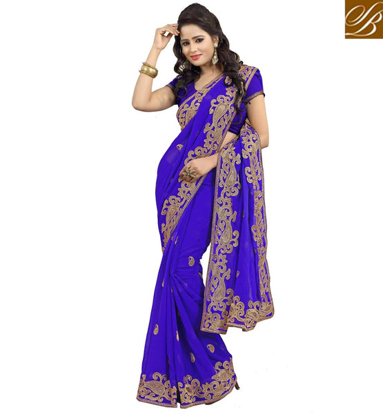 INDIAN-WOMENS-SAREES-DESIGNS-WITH-BEAUTIFUL-BLOUSES-COLLECTION-PREMIUM-QUALITY-CHIFFON-FABRIC-BLUE-SARI-COMPLEMENTED-WELL-WITH-MATCHING-BLOUSE