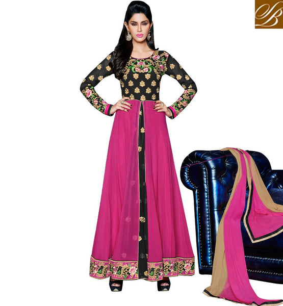 designer anarkali salwar kameez with layered look
