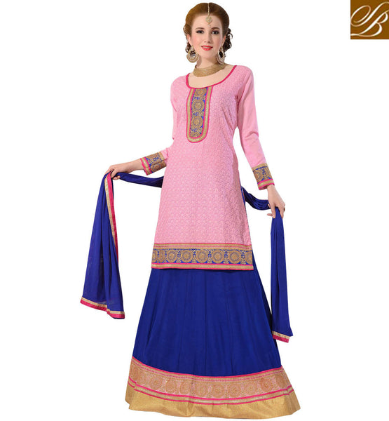 AFFORDABLE RATE INDIAN LENGHA WITH LONG CHOLI PLEASING PEACH AND BLUE DESIGNER LEHENGA CHOLI WITH CHIFFON DUPATTA