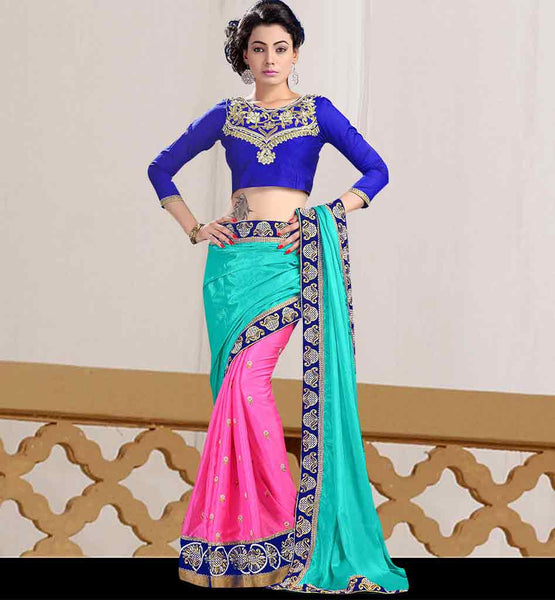SIMPLE SOBER DESIGN OF BLOUSES FOR SAREES  SKY BLUE AND PINK CHINON SARI WITH CONTRAST ROYAL BLUE DUPION BLOUSE