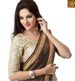 STYLISH BAZAAR PARTY WEAR JACQUARD & BRASSO SAREE WITH ARTSILK BLOUSE