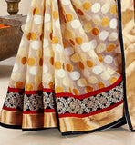 CONTRAST-COLORED-DOTTED-DESIGNS-HIGHLIGHTED-BEAUTIFULLY-WITH-LACE-BORDER-LATEST-SAREE-DRAPE-DESIGNS-WITH-STYLISH-BLOUSES-COLLECTION