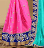 SPLENDID BUTTA STYLE DETAILING ON THE SKIRT PORTION WITH FANCY LACE BROODER WORK ALL OVER SIMPLE SOBER DESIGN OF BLOUSES FOR SAREES  VDSNH1109
