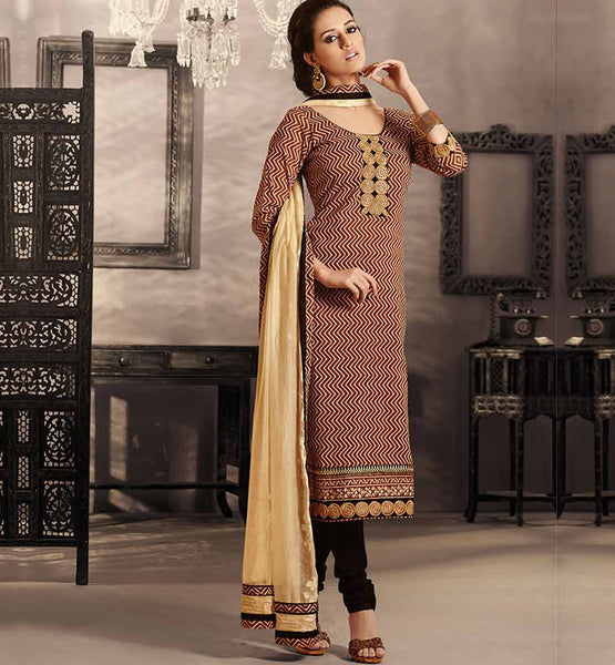 CLASSY CREAM COTTON DRESS MATERIAL WITH CHIFFON DUPATTA RTRAJ1109B