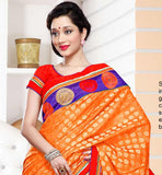 Orange party wear Banarasi Kerotin & Titanic Tissue Jacquard material saree