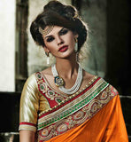 CHARMING SHADED ORANGE GEORGETTE WEDDING SARI WITH RICH BORDER