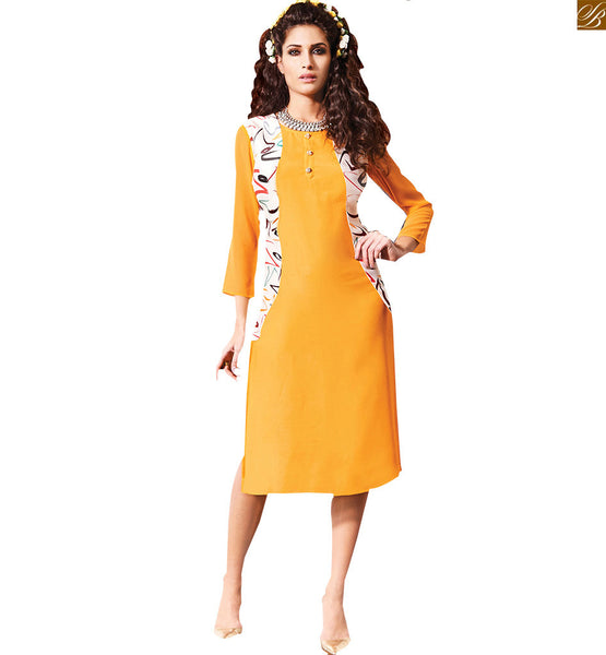 BROUGHT TO YOU BY STYLISH BAZAAR TRENDY GEORGETTE YELLOW DIGITAL PRINTED KURTI RTVIN110
