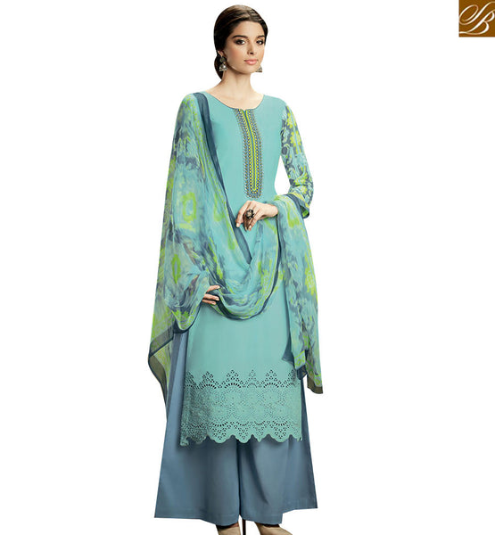 STYLISH BAZAAR GRACEFUL SKY BLUE COLOR SUIT COTTON PLAZZO SALWAR WITH MULTI COLOR DUPATTA KMV110