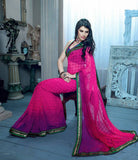 DESIGNER PINK SHADED CHIFFON SAREE