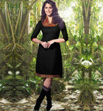 BUY BEAUTIFUL BLACK KNEE HEIGHT LINEN KURTI WITH EMBROIDERED NECK