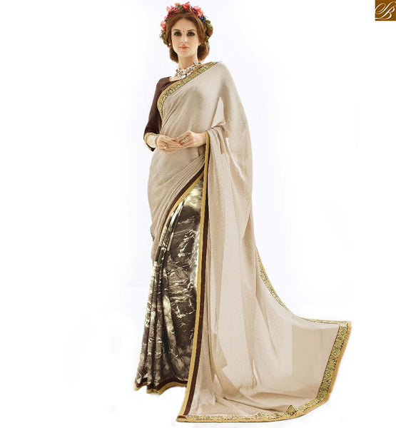 Half saree model and designer blouses pattern on back neck cream and coffee chiffon eye catching new collection indian printed saree with coffee designer blouse