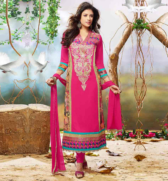 PUNJABI SALWAR KAMEEZ DESIGNS V-NECK EMBROIDERED PARTY WEAR DRESS