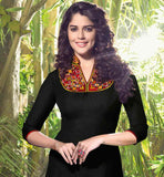 BEAUTIFUL BLACK LINEN KURTI WITH EMBROIDERED NECK
