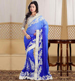 BUY EVERSTYLISH BEAUTIFUL SAREE BLOUSE PATTERNS PREMIUM BLUE PURE GEORGETTE MATERIAL SARI WITH DAZZLING SILVER BROCADE BLOUSE