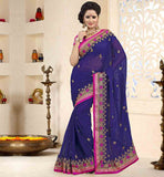 LATEST-SAREE-DRAPE-DESIGNS-WITH-STYLISH-BLOUSES-COLLECTION-LUXURIOUS-CHIFFON-FABRIC-NAVY-BLUE-COLOR-SARI-WITH-PINK-PURE-DUPION-BLOUSE