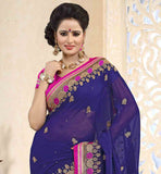 LUXURIOUS-CHIFFON-FABRIC-NAVY-BLUE-COLOR-SARI-WITH-PINK-PURE-DUPION-BLOUSE-BE-AT-YOUR-GORGEOUS-BEST-BY-DRAPING-THIS-SARI-ENRICHED-WITH-SMALL-BUTTA-DESIGNS-AND-AWESOME-BORDER-PATTERNS
