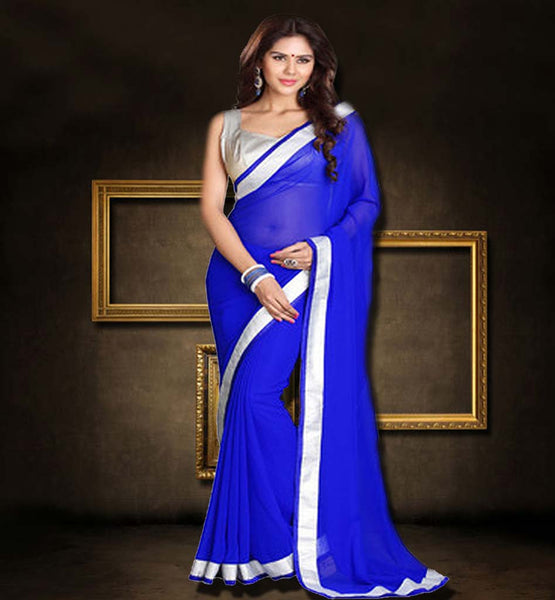 PREMIUM DESIGNER SAREES ONLINE SHOPPING STYLISH BAZAAR BLUE SAREE WITH SILVER BLOUSE