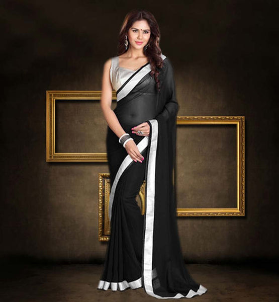 BUY STYLISH INDIAN SAREE BLOUSE ONLINE  TRENDY BLACK  SAREE HAVING SILVER BLOUSE