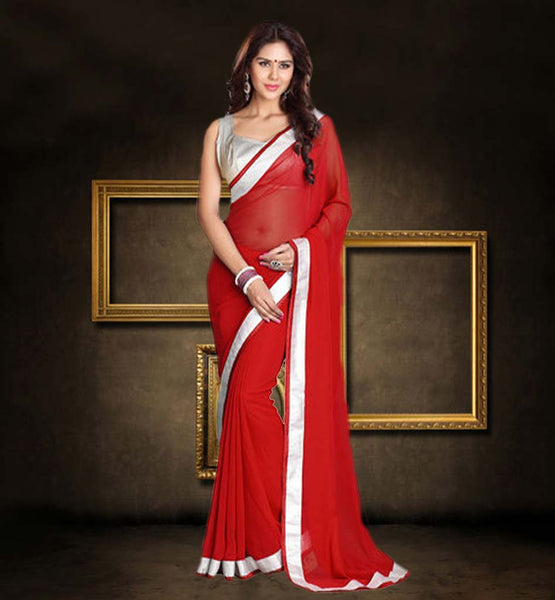 HIGH QUALITY SAREE BLOUSE ONLINE SHOPPING RAVISHING RED SAREE POSSESSING SILVER CHOLI
