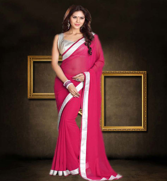 BUY PLAIN GEORGETTE SAREES WITH BLOUSE ONLINE PLEASING PINK SAREE HAVING CONTRAST SILVER CHOLI