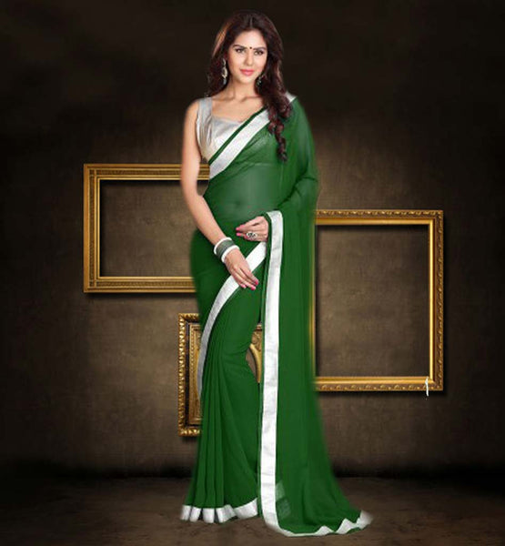 PURCHASE PLAIN SAREES WITH DESIGNER BLOUSE FASCINATING GREEN SAREE WITH SILVER CHOLI