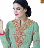 FROM STYLISH BAZAAR ATTRACTIVE SEA GREEN COLORED SUIT WITH BEAUTIFUL EMBROIDERED WORK VDKLK11105