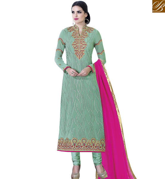 STYLISH BAZAAR ATTRACTIVE SEA GREEN COLORED SUIT WITH BEAUTIFUL EMBROIDERED WORK VDKLK11105