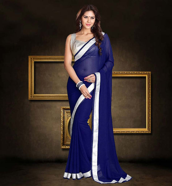 LATEST SAREE BLOUSE PATTERNS FOR OFFICE WEAR AMAZING NAVY BLUE SAREE WITH EXCITING SILVER BLOUSE