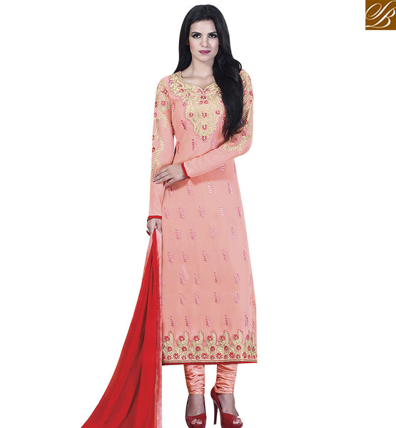 STYLISH BAZAAR GOOD LOOKING PEACH COLORED DESIGNER SALWAR KAMEEZ VDKLK11106
