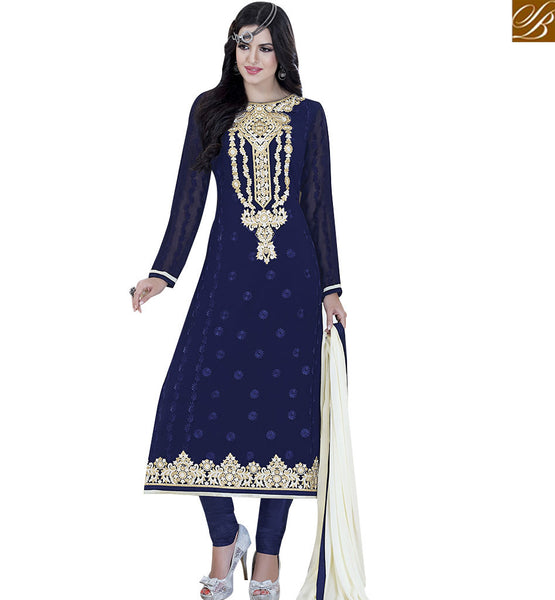 STYLISH BAZAAR ALLURING NAVY BLUE COLORED DESIGNER SUIT VDKLK11107