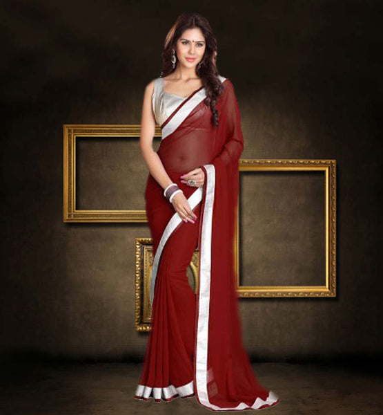 BUY SAREE BLOUSE ONLINE INDIA CASH ON DELIVERY WONDERFUL MAROON SAREE ENHANCED WITH SILVER TOP
