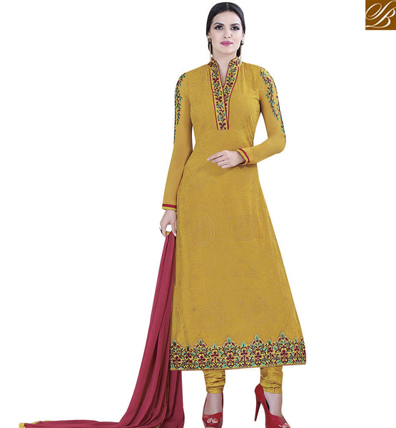 STYLISH BAZAAR ELEGANT MUSTARD COLORED SUIT WITH ATTRACTIVE FLORAL WORK VDKLK11108